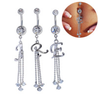 Fashion letter shaped zircon belly button ring antiallergic Navel Belly Ring-0428-Gifts box