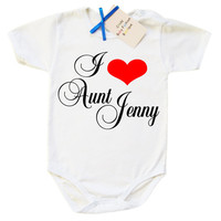I love my Aunt, aunt baby bodysuit, baby boy aunt bodysuit, baby girl aunt bodysuit, baby shower gift, baby shower idea unique baby bodysuit