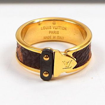 """Hot Sale """"Louis Vuitton"""" LV Fashion Women Personality Leather Stainless Steel Ring Jewelry Golden I-HLYS-SP"""