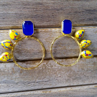 Blue Onyx and Multicolor Stone Flair Earrings