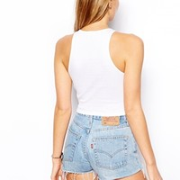 ASOS Crop Top with Crew Neck in Rib