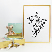 Oh the Places You'll Go Dr. Suess Quote Nursery Wall Art Print Digital Wall Art Boys Room Girls Room Whimsical Wall Art Wall artwork