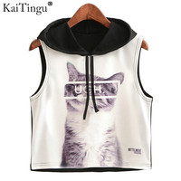 KaiTingu 2017 New Summer Fashion Women Hoodied Crop Top Sleeveless Cat Print Casual Top Women Short Cropped Tops Vest Tank Tops