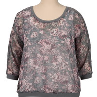Plus Size - Chiffon Rose Print Pullover With Lace