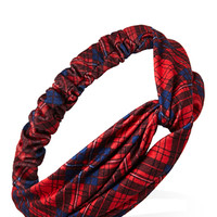 FOREVER 21 Remixed Plaid Knotted Headwrap Red/Blue One