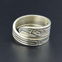 Northwest Coast Native Wrap Ring Sterling Silver First Nations Band