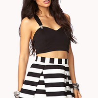 Daring Stripe Pleated Skirt