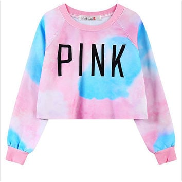 Pink Ombre Printed Cropped Sweatshirt