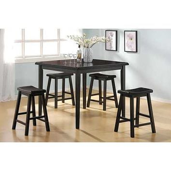 """36"""" X 36"""" X 36"""" 5pc Black Rubber Wood Counter Height Set"""