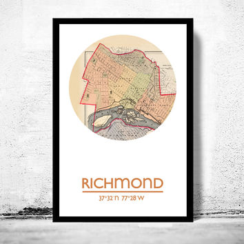 RICHMOND VA - city poster - city map poster print