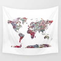 World Map Wall Tapestry by MapMapMaps.Watercolors