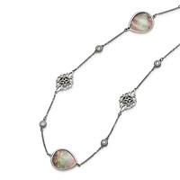 """Stainless Steel Black Mother of Pearl and CZ 24-27"""" Long Necklace"""