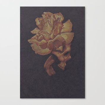 Skull Bloom Canvas Print by drawingsbylam