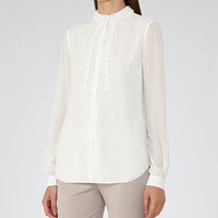 Serena Off White Ruffle-Front Blouse - REISS