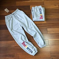 """Burberrys"" Unisex Loose Casual Rainbow Letter Embroidery Leisure Pants Couple Sweatpants Trousers"