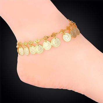 Coin charm ankle foot jewelry 18k gold plated stamp women's anklet