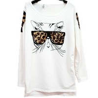 W&Hstore Leopard Bespectacled Cat Kitty Long Sleeve TEE Shirt Tops Blouse