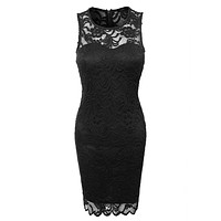 Fitted Floral Lace Scalloped Sleeveless Bodycon Midi Dress (CLEARANCE)