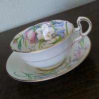 1930s Bell Fine bone china tea cup, floral teacup and saucer, bone china English tea set, tulips, pink and blue