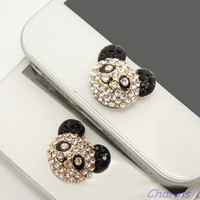 1PC Bling Crystal Panda Head iPhone Home Button Sticker for iPhone 4,4s,4g, 5 & iPad, iPhone Charm