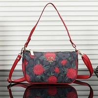 Coach Women Fashion Flower Leather Crossbody Shoulder Bag Satchel