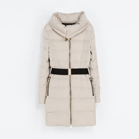 PUFFER JACKET WITH WRAPAROUND COLLAR