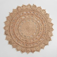 5ft Round Woven Jute Area Rug