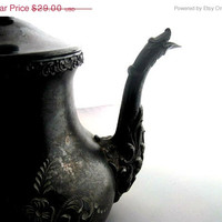 Halloween Sale Vintage Silver Plated Teapot - ETCHED - Cottage Chic