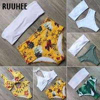 RUUHEE Bandage Bikini Swimsuit Swimwear Women High Waisted Bikini Set Bathing Suit Female Beachwear Swimsuit For Women With Pad
