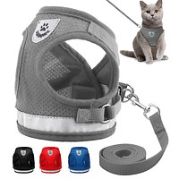Cat Dog Adjustable Harness Vest Walking Lead Leash Collar for Dogs Cats Puppy 4 Sizes Mesh Harness For Small Medium Pets FREE SHIPPING