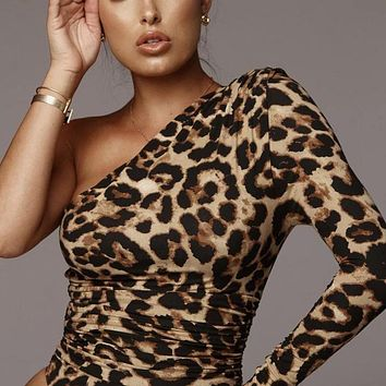 Women's Sexy Leopard Print One Shoulder Long Sleeve Slim Jumpsuit