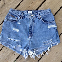 High Waisted Distressed Shorts Size 7/8 by DenimAndStuds on Etsy