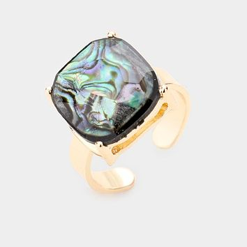 Abalone Square Stone Adjustable Ring