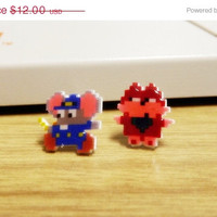 ON SALE: ON Sale  - Mappy earrings - Video game jewelry - 8 bit pixel nintendo earrings