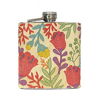 Wood Flask Floral
