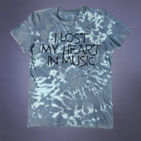 Acid Wash Shirt I Lost My Heart In Music Slogan Band Tee Punk Rock Grunge Alternative Indie Tumblr T-shirt