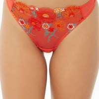 Sheer Embroidered Floral Thong Panty