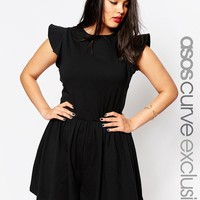 ASOS CURVE Playsuit with Frill Sleeve at asos.com