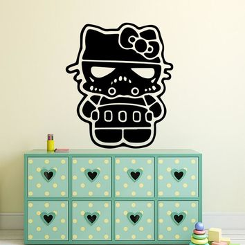Diy Hello Kitty Wall Sticker Pvc Wall Art Stickers Modern Fashion Wallsticker For Kids Rooms Nordic Style Home Decoration