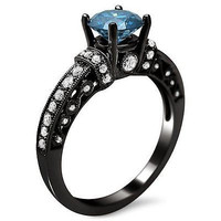 AMAZING 2.20CT BLUE ROUND CUT 925 STERLING SILVER ENGAGEMENT AND WEDDING RING