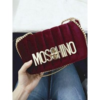 Moschino Tide brand female velvet shoulder messenger bag chain bag