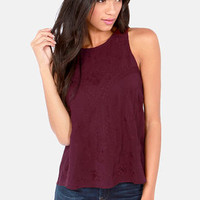 Stitch A Ride Embroidered Burgundy Top