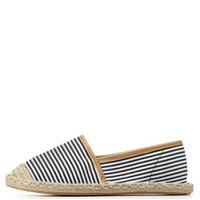Black/White Striped Canvas Espadrille Flats by Charlotte Russe