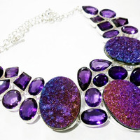 925 sterling silver Amethyst With Huge Titanium Druzy gemstone choker style necklace awesome looking