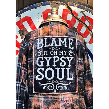 Blame it on my Gypsy Soul panel- Campfire Flannel - Angry Minnow Vintage