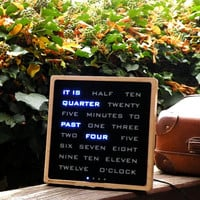 Word clock - wood electronic clock, moderrn led wood clock, blue led, desk clook, handcrafted wood clock