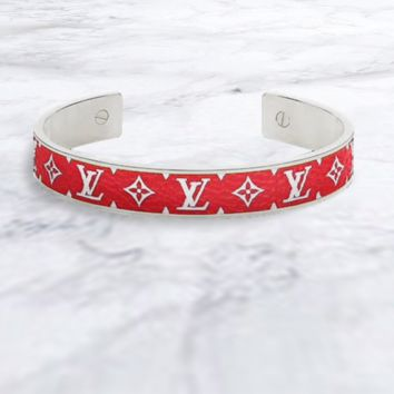 LV Louis Vuitton Stylish Boys Girls High End Lovers Stainless Steel Bracelet Red&Silvery