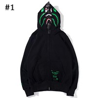 Bape x Undefeated co-branded men's and women's double-cap shark zipper hooded jacket #1