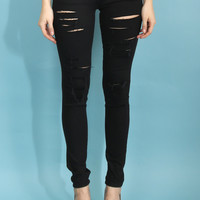 Flying Monkey Black Slashed Jeans