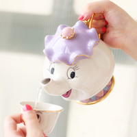 Beauty and the Beast Gilded Ceramic teapot and cup Mrs. Potts Chip/Cartoon tableware Birthday Valentine's Day gift sweet gift